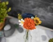 Dahlia, Mum, Baby Sunflower, & Wildflower Fall Felt Flower Bouquet / Handmade Merino Wool-Blend Forever Flowers / Autumn Home Decor