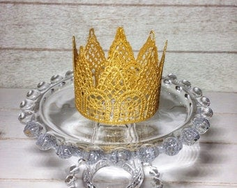 Crown Cake Topper, Tiara, Princess Party, Gold Baby Crown, Maternity, Birthday Cake Top, Cake Smash, Baby Shower Cake Topper, 1st Birthday