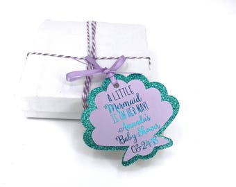 Mermaid Baby Shower Thank You Favor Tags, Mermaid Goody Bag Tags, Mermaid Treat Bag Thank you Tags, Under The Sea Tags - Real Metallic Font