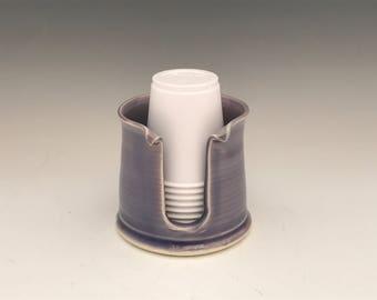 Lavender Bathroom Cup Holder  Pottery Cup Holder - Ceramic Bathroom Cup Dispenser