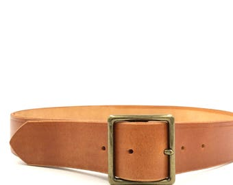 Best quality unisex leather tanned leather belt with solid brass buckle, hand made, polished edges. M1