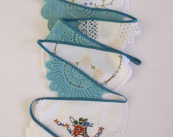 Handmade doily bunting, teal and white, mantle or room decoration, garland, eco friendly