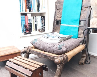 Vintage Wooden Footstool/Living room furniture/cottage chic interiors/put your feet up/comfy footstool/antique stool