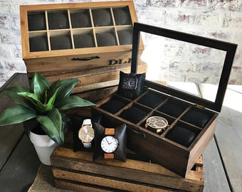 Watch Box Personalized - Faux Leather - Compartment Watch Box - Gifts for Men - Anniversary Gift - Watch Case - Glass Watch Box - Leather