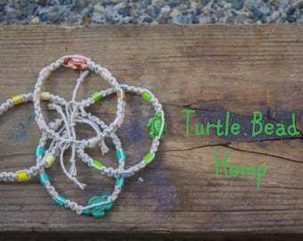 Turtle Bead Hemp Bracelet