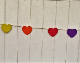 Rainbow heart bunting