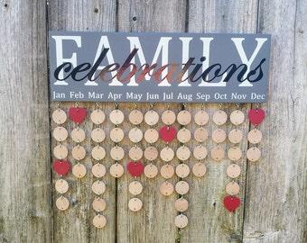 Family Celebration Board, Family Birthday, Gift for Wife, Gift For Mom, Family Gift,Family Birthday Calendar, Family Celebration Sign,