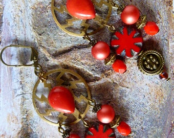"Dangle style Bohemian ""Merida"" bronze metal, brass, red Czech glass, metal beads, gemstone"