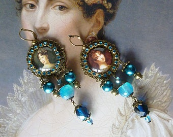 """Earrings style Empire """"Hortense"""", glass beads Pearl, Agate, Rhinestones, cabochons, illustrated, bronze metal"""
