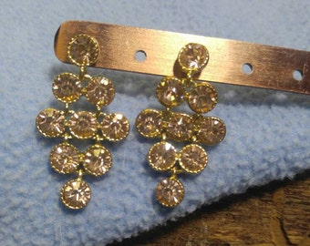 Beautiful Sparkling Unusual Color Rhinestone Earrings