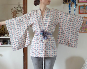 Vintage silk kimono with flowers and butterflies Japan