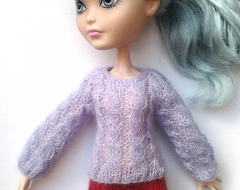 Monster High/Ever After high clothing, lilac/purple cable knit sweater/jumper with long sleeves, 100% fine wool