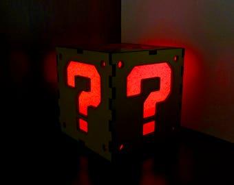 Super Mario Question Block Lantern Christmas Gift - Lightbox - Decoration Lamp - Handmade Lamp - Video Games Decor - Geek - Gamer - Wooden