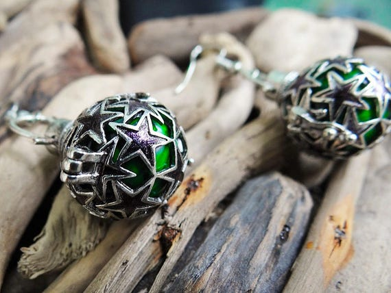 Slytherin House Harry Potter Inspired  Harmony Ball Earrings Silver Green Chiming Bell Bells Magical Earring Ear Ring Rings Earing