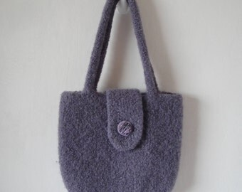 lilac felt handbag, wool felt purse, day to evening bag, felted knit purse, pastel lilac purse, boucle felt purse, button-tab handbag, purse