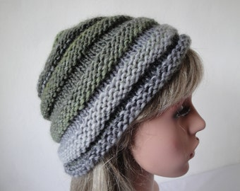 green beehive beanie, wool mix knit cap, beehive hat size M-L, chunky knitted cap, gray and green hat, woman beehive hat, multi-color beanie
