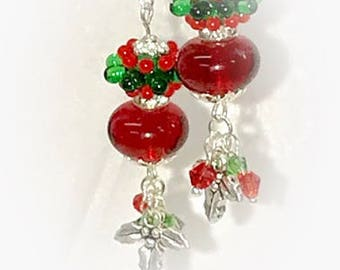 Christmas Lampwork Earrings with Dangles