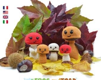 Famille Champignon Amigurumi Crochet Fleur Patron PDF Tuto Français / Uncinetto Fiore Famiglia Fungo Schema Italiano