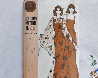 Vintage dress pattern, Family Circle no 62, Dress and overdress, multi size bust 34 to 40 inches, 1960s, uncut