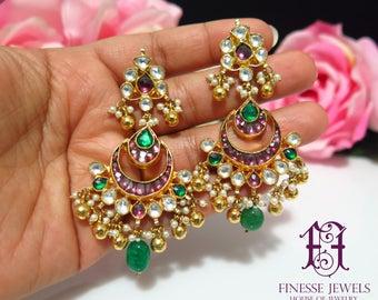 Red Kundan Chandbali Earrings,Kundan Earrings,Kundan Jewelry,Indian Earrings,Indian Jewelry,Indian Bridal Jewelry,Fine Collectible Earrings