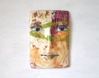 Tile face wall sculpture, female birthday gift, abstract colorful art, Picasso style art, Etsy 3D art, summer wall art, sculpture head
