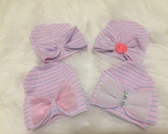 Cutie beanies Newborn hospital hats with bows