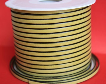 MADE in EUROPE 1 yard of 5mm flat leather cord, genuine leather 5mm strip, flat yellow leather cord (221/05/22)