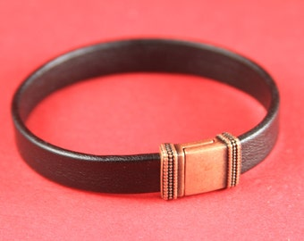 5A/7 MADE in EUROPE zamak magnetic clasp, 10mm flat cord clasp, flat cord copper clasp, copper magnetic clasp (TM10x2BICC) Qty1