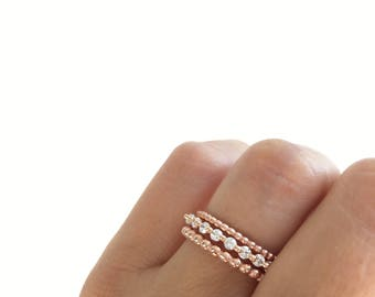 Rose Gold Eternity Band Ring And Beaded Set Stacking Rings Stackable