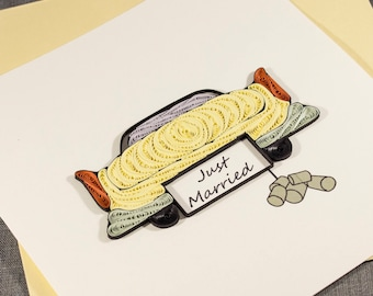 3D Blank Quilled Wedding Card Car Congratulations Quilling Card
