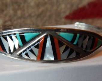 Turquoise  cuff bracelet , inlaid, SOUTHWESTERN  JEWELRY, old pawn, womens, coral, horse, sterling bracelet, western, sterling turquoise