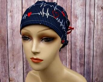 Womens Surgical Scrub Caps - Ponytail Scrub Hat - Scrub Caps - Heartbeat