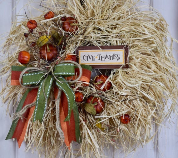 Give Thanks Rustic Pumpkin Raffia Grapevine Wreath; Thanksgiving Decor Wreath; Autumn Wreath Door Decor; Fall Door Decor Wreath; Autumnal