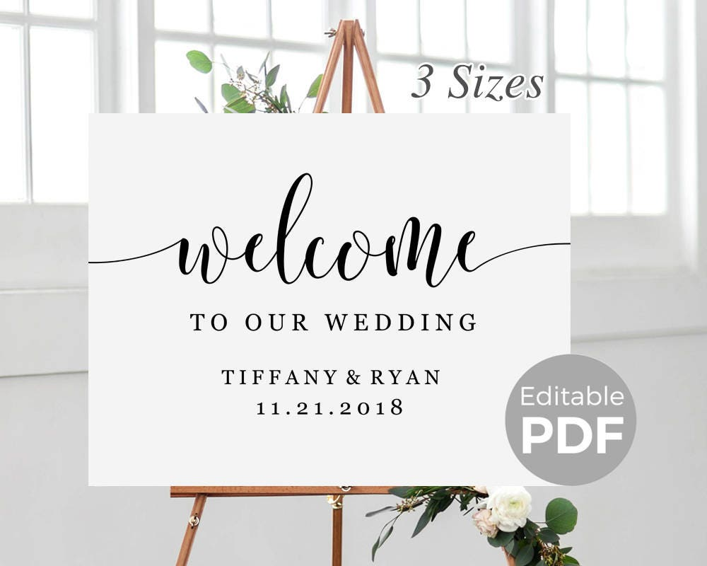 rustic welcome sign template for wedding printable modern wedding welcome sign poster. Black Bedroom Furniture Sets. Home Design Ideas