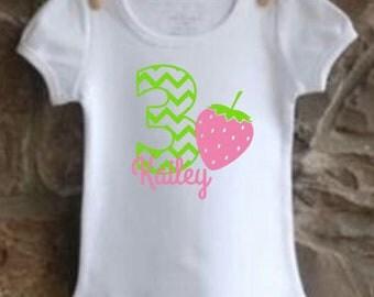 girls' personalized strawberry birthday shirt vinyl custom