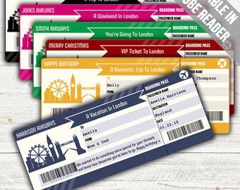 Surprise Trip To London Boarding Pass (Surprise Trip Ticket). Six Colors. Editable. Instant Download.