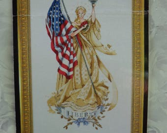 The Lady of the Flag cross stitch pattern, Mirabilia, Nora Corbett, Freedom Liberty, 9/11
