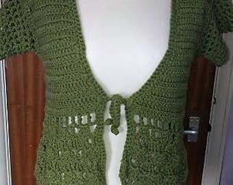 Crochet Green Summer Cardigan/summer cardigan/vegan crochet/green cardigan/summer crochet/autumn cardi/summer cardi/green cardi
