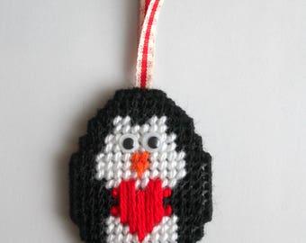 Penguin Decoration, Christmas Ornament, Penguin Gift, Funny Christmas Ornament, Penguin Decor, Christmas Tree Decorations, Plastic Canvas