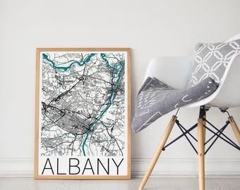 Albany Map / Albany Poster / Albany Wall Art / Albany Travel Poster / Map Print / Albany Print  / Albany Map / Wall Art / Albany, NY