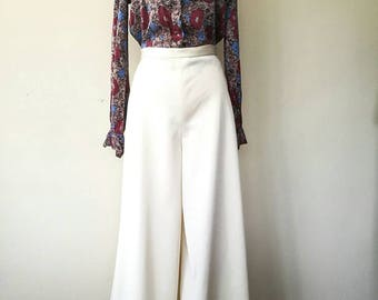 Vintage cream high waisted wide leg pants