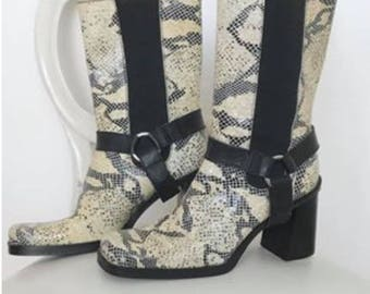 Vintage snake skin moto boots