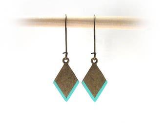 Aqua Mint Earrings, Bronze Chevron Earrings, Geometric Earrings, Southwestern Brass Rhombus Earrings, Mint Boho Style Earrings / E532