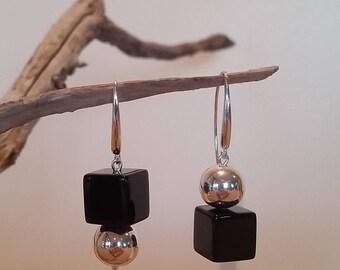 Onyx & Sterling Silver ball Earrings