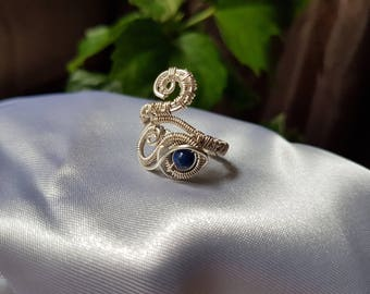 wire wrapped ring, silver plated copper wire, lapis lazuli ring, handmade ring.