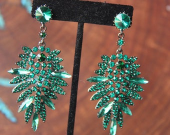 Emerald green earrings, emerald green rhinestone chanelier earrings, yellow rhinestone pageant earrings, prom dangle earrings