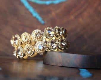 gold rhinestone bracelet, gold stretch bracelet, gold crystal bracelet, pageant bracelet, prom bracelet, large crystal bangle