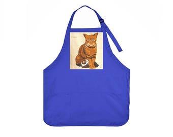Cat Apron,Vintage Cat Portraits, 3 Pocket Chef Apron,Crafts,Arts,Studio,Garden,Kitchen, Gift for Women, Gift for Men, Holiday GIft