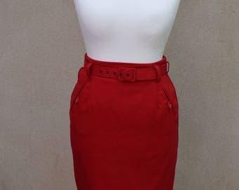 Vintage red belted pencil skirt, UK size 12