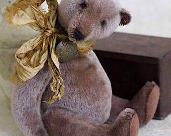 9.4 Inch OOAK Artist Handmade Teddy Bear Boy Oscar in a Gold Scarf, Vintage Toy, Brown Bear